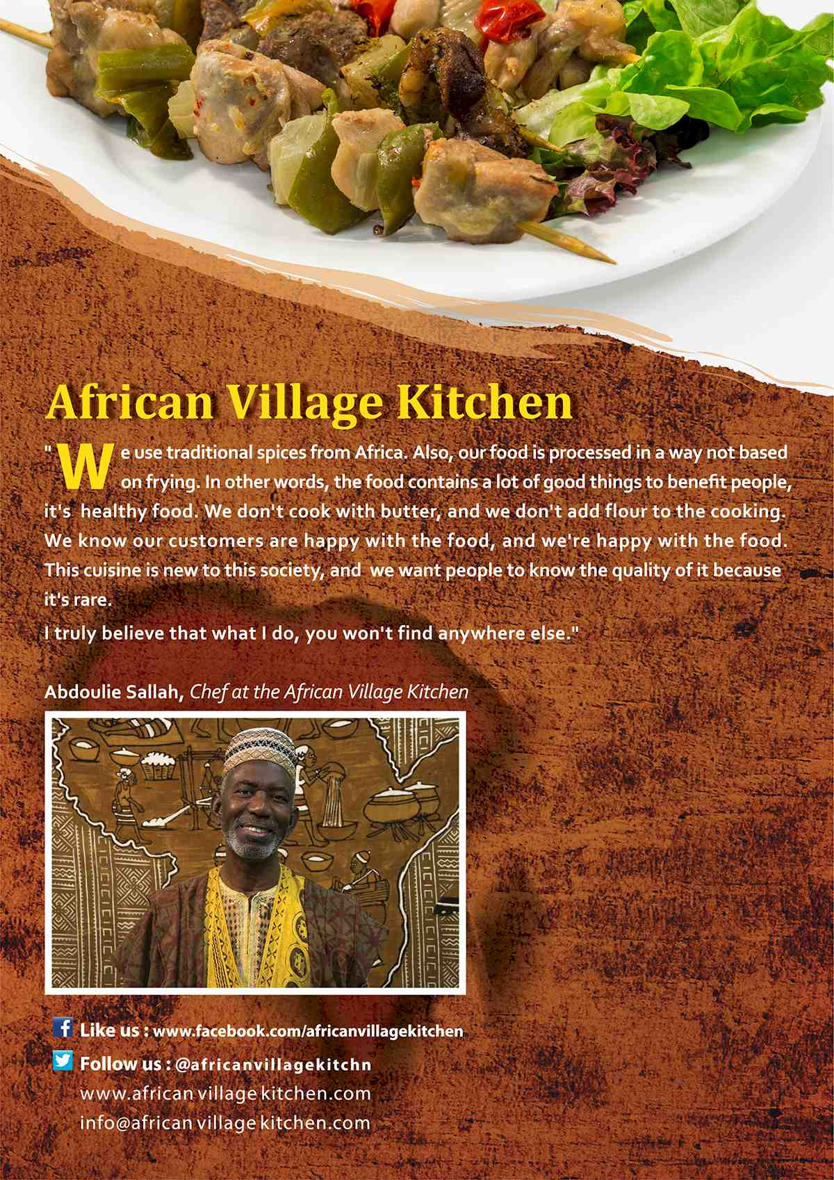 African Village Kitchen Menu page 1