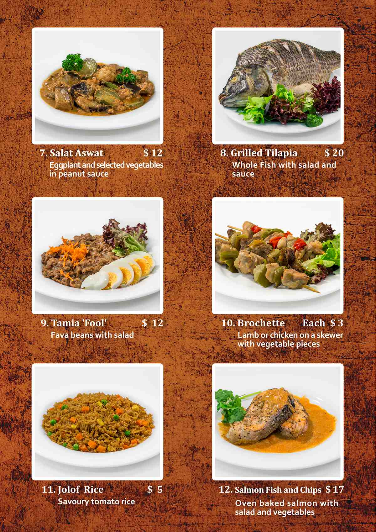 African Village Kitchen Menu page 3